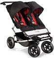 Лятна бебешка количка за близнаци - Duet Black Red - С 4 колела -