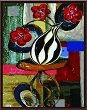 Рисуване по номера - Абстрактни цветя - Комплект за картина с размери 50 x 40 cm -