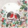 Салфетки за декупаж - Коледни птичета - Пакет от 20 броя -