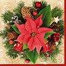 Салфетки за декупаж - Коледна звезда - Пакет от 20 броя -