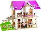 Дървена къща за кукли - Обзаведена с мебели -