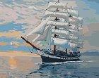 Рисуване по номера - Кораб - Комплект за картина с размери 50 x 40 cm -