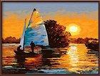Рисуване по номера - Слънчев залез - Комплект за картина с размери 50 x 40 cm -