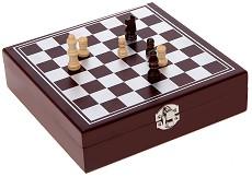 Шах в дървена кутия - Комплект с аксесоари за вино -