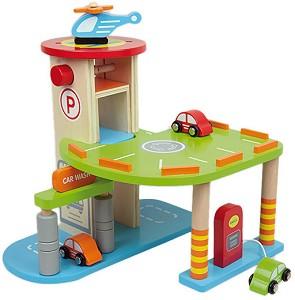 Паркинг - Дървена играчка с 3 автомобила и хеликоптер -