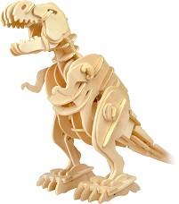 Ходещ Тиранозавър рекс - Дървен 3D пъзел-робот със звуков контрол -