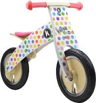 """Детски дървен велосипед без педали - Пастелни точки - От серията """"Kurve"""" -"""