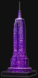 Емпайър Стейт Билдинг през нощта - 3D пъзел с LED светлини в различни цветове -