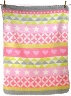 """Бебешко одеяло - Сърчица и звездички: розов нюанс - Размер 75 x 100 cm от серия """"Niki"""" -"""