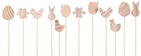 Дървени фигурки на клечка - Великден - Комплект от 12 броя за декориране -