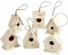 Мини дървени къщички за птици - Комплект от 6 броя за декориране -