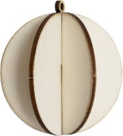 Сглобяема фигурка от шперплат - Коледна топка - Предмет за декориране с размери 6.7 x 7.4 cm -