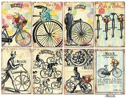 Мини хартии за скрапбукинг - Велосипеди - Комплект от 24 листа -