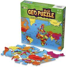 """Карта на света - Пъзел с части в нестандартна форма от серията """"Geo puzzle"""" -"""