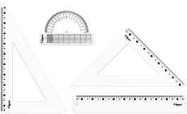 Линия, триъгълници и транспортир - Комплект за чертане -