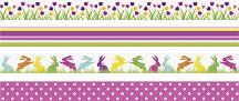 Декоративно тиксо - Лалета, точки, линии и зайци - Комплект от 4 броя -