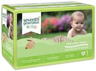 Seventh Generation Free & Clear 1 - Eко пелени за еднократна употреба за бебета с тегло от 4 до 6 kg -
