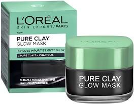 """L'Oreal Pure Clay Glow Mask - Почистваща и озаряваща маска за лице с 3 вида глина и растителен въглен от серията """"Pure Clay"""" -"""