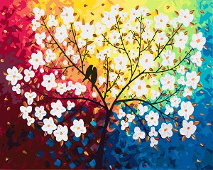 Рисуване по номера - Птици на дървото - Комплект за картина с размери 50 x 40 cm -