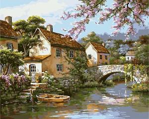 Рисуване по номера - Къща край реката - Комплект за картина с размери 50 x 40 cm -