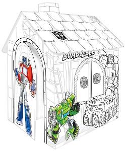Детска сгъваема къщичка - Transformers - Картонен модел за оцветяване -