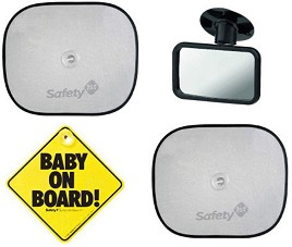 """Сенници, огледало и табела """"Baby on board"""" - Комплект от 4 броя аксесоари за кола -"""