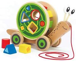 Охлюв - Дървена играчка за дърпане -