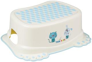 Детско стъпало за баня - Куче и коте - Цвят бял -