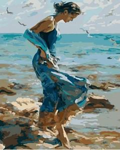 Рисуване по номера - Насаме с морето - Комплект за картина с размери 50 x 40 cm -