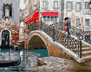 Рисуване по номера - Мост във Венеция - Комплект за картина с размери 50 x 40 cm -