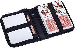 Карти за игра в кожен калъф - Комплект с молив и тефтер -