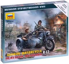 """Немски мотор с кош - BMW R-12 с войници - Комплект от 2 сглобяеми фигури и мотор от серията """"Великата отечествена война"""" -"""
