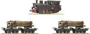 Товарен влак за дърва с парен локомотив - Аналогов стартов комплект с релси -