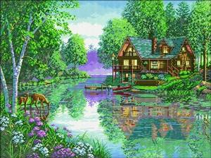 Щампован гоблен - Къща край езерото - Комплект за картина с размери 77 x 59 cm -