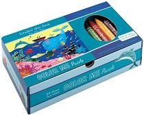 Морското дъно - Пъзел за оцветяване + 5 цветни пастела -
