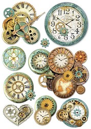 Декупажна хартия - Зъбни колела и часовници - Формат А4 -