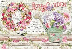 Декупажна хартия - Розова градина - Размери 50 x 35 cm -