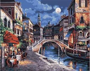 Рисуване по номера - Нощна Венеция - Комплект за картина с размери 50 x 40 cm -