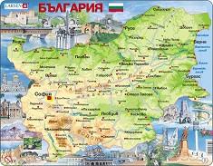 Карта на България - Образователен пъзел в картонена подложка -