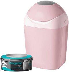 Хигиенен кош за пелени - Sangenic Tec Tub: Pink - Комплект с 1 брой резервна касета -