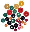 Декоративни цветни дървени копчета - Комплект от 30 броя с различна големина -