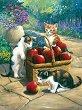 Рисуване по номера с акрилни бои - Котенца и кошница с ябълки -