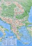 Природногеографска и политическа карта на Балканския полуостров - M 1:6 000 000 - карта