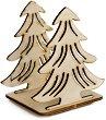 Сглобяема фигурка от шперплат - Двойна елха - Предмет за декориране с размери 7.5 / 8.6 / 6.5 cm -