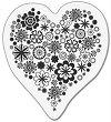 Силиконов печат - Сърце с цветя - Размер 5 x 6 cm -