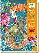 Оцвети с брокат - Русалки - Творчески комплект за рисуване -