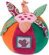 Цветна топка - Мишлето Mabel - Мека бебешка дрънкалка -