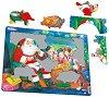 Дядо Коледа и децата - Пъзел в картонена подложка : С части в нестандартна форма -