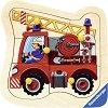 Пожарникарска кола - Детски дървен пъзел с дръжки -