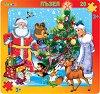 Коледа в гората - Пъзел в картонена подложка -